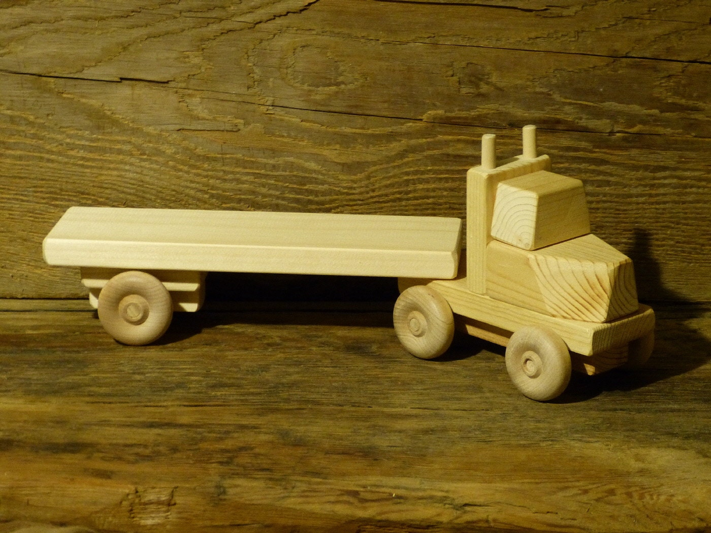 Wooden Toy Cars And Trucks : Handmade wooden toy truck flatbed trailer green ecofriendly