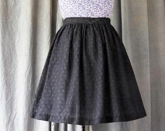 Black Lace Skirt | Classic Black Skirt For Women | formal lace Skirt | Full Gathered Skirt | Womens Skirt | knee length skirt