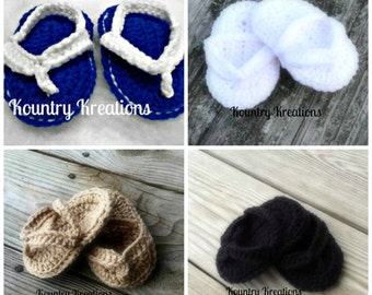 Crocheted baby flip flops/ crochet baby sandals/ baby shoes/Sporty Little Flippy Flops (Ready to Ship)