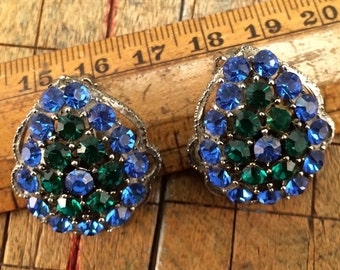 Gorgeous Peacock Color Weiss 1950's Rhinestone Earrings