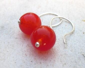 Red bubble earrings, hollow glass earrings,  red sphere earrings, sterling silver earrings, minimalist jewelry, simple, modern