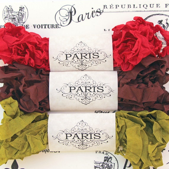 Seam Binding Ribbon,Scrunched Ribbon, Shabby Cottage, Crinkled Ribbon,Cherry,Moss Green,Brown, French Vintage, Scrapbooking, Vintage Couture