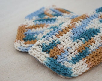 Cotton Dishcloths, Crocheted.  Blue, Teal and Brown.