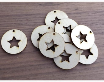 50 Pieces- Round Pendant with Star Cut Out 1.5 inch Unfinished Wood Laser Cut Round Circle Pendant Blanks Disks