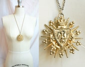 HOLD FOR JULIA -- Vintage Coro Crown, Shield and Griffen Pendant in Gold - Heraldic Necklace
