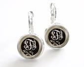 Monogram Earrings, Bridesmaid Gift, Monogram Jewelry Personalized Earrings (358)