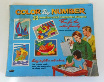 1960s Vintage Color by Number Book Whitman Coloring Book PBN Number coded pictures