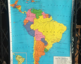 VIntage Nystrom School Classroom Map of South America