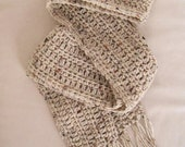 RESERVED FOR LUIGINEMO - Crocheted Fringed Scarves and Hats- Natural Flecked