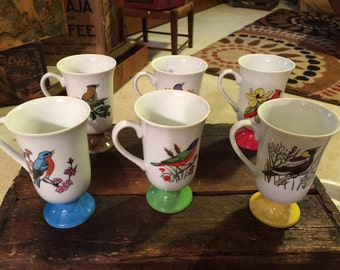 Vintage Set of six colored Footed Bird Mugs retro