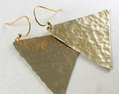 Hammered Triangle Earrings, Geometric Brass Earrings on small hooks