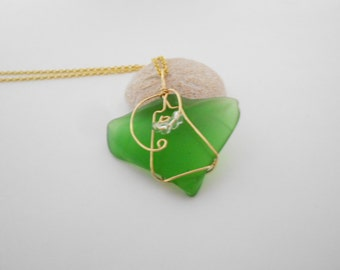 Green Glass Pendant Chain Necklace Tumbled Green Glass Wire Wrapped Pendant Green Pendant Desert Glass Pendant Gold Tone Findings