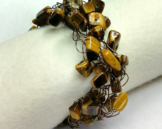Tiger's Eye Bracelet - Wire Crocheted Bracelet - Brown Bracelets - Braided Bracelets - Chatoyant Bracelets - Adjustable Bracelets