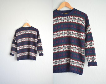 vintage '80s FAIR ISLE patterned wool KNIT pullover sweater. size m l.