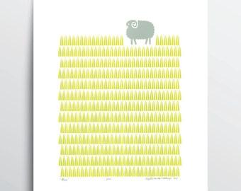"""Fine Art Print """"Sheep"""" A3 size"""