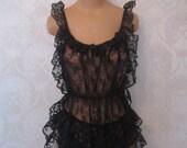 Vintage 1980's Black lace Negligee and Panties * Retro 1980's 2 Piece Nitey