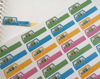 32 Bill Due Stickers, Fits Erin Condren Planner, Stickers, Planner Stickers