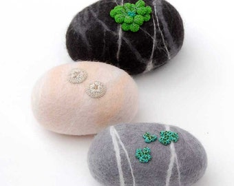 Felt stones, felt ornament, felt pebbles, nature decor, nature art, garden stones, wet felted stones, woodland ornament