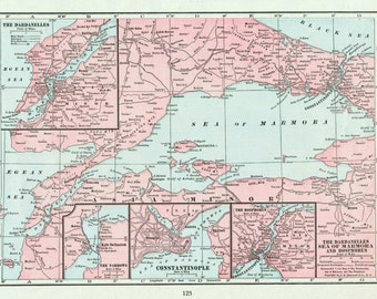 1919 Vintage Map of the Dardanelles, Sea of Marmora, and the Bosphorus