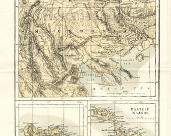 1890s Vintage Map of Macedonia (Greece), Madeira, and the Maltese Islands - Antique Macedonia Map