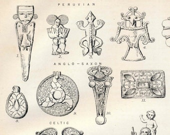 1880 Antique Print on Jewelry from Peru, Cyprus, and the Renaissance