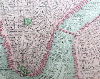 Antique Map of Manhattan - 1900 Vintage Map of New York City, Southern Portion