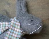 Gray Fuzzy Woodland Spring Easter Bunny Shelf Sitter Ornament Folk Art Doll