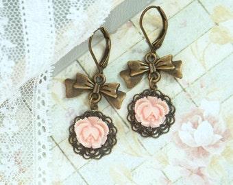 Peach Rose Earrings Rose Dangle Earrings Shabby Chic Jewelry Bow Dangle Earrings Peach Flower Earrings
