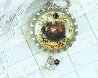 Nest Egg Necklace Bird Nest Jewelry Woodland Necklace Bottle Cap Jewelry Nest Jewelry Bird Nest Necklace