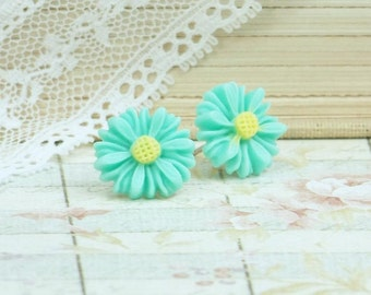 Turquoise Flower Earrings Daisy Stud Earrings Turquoise Studs Daisy Earrings Hypoallergenic Flower Stud Earrings
