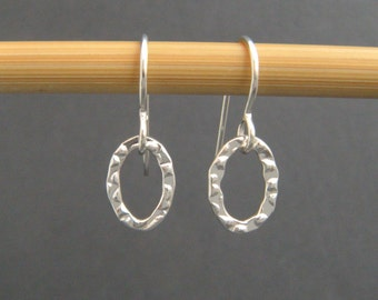 """tiny oval earrings. sterling silver. small textured dangles. simple everyday earrings. drop open oval hoop earrings. gift for her 3/8"""""""