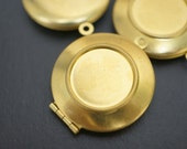 Medium Raw Brass Round Plain Lockets with Setting Area - 26mm - 4 pcs (No Coupons Allowed)