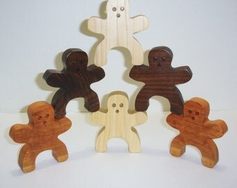 People Stacking Game Wooden Toy Natural Hardwood  Eco Friendly