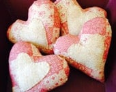 4 Heart Ornies Bowl Fillers Pink Calico - Valentine's Day
