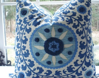 BOTH SIDES - Tribal Thread Azure- Gorgeous Decorative Designer Pillow Cover - Azure Blue -Creamy Ivory--Indigo Blue Throw/Lumbar Pillow