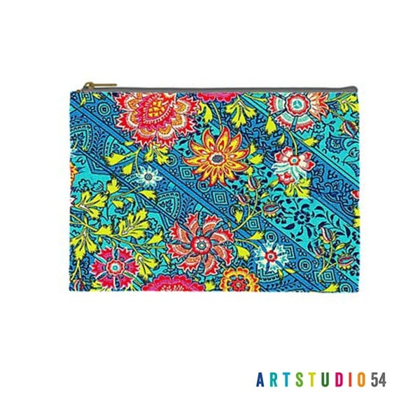 "Flower Pattern on a Pouch, Make Up, Cosmetic Case Travel Bag - Pink, Blue, Pastel - 9"" X 6"" -  Large -  Made by artstudio54"