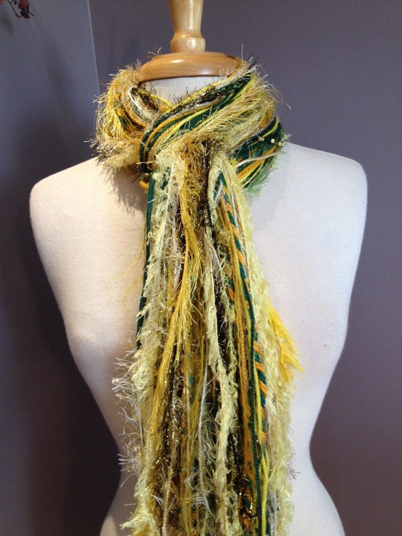 green and gold fringe scarf fringie in by rockpaperscissorsetc