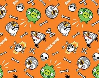 Angry Birds Skeleton Birds in Orange - Half Yard Cotton Fabric