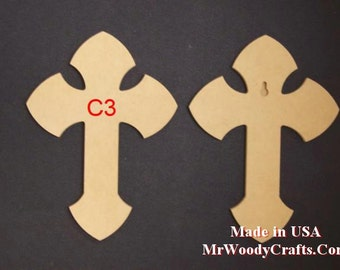 """24"""" x 30"""" 1/2"""" Thick Unfinished Wooden Crosses, Choose from 8 different styles, Ready to Paint, w/key holes.  243050-1"""
