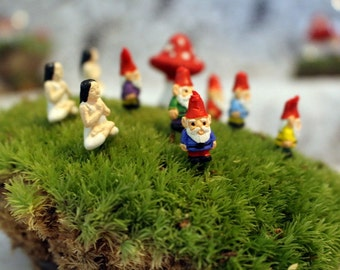 "Miniature gnomes-Yoga Girl-Teeny Tiny Garden gnome-Wee fairy garden gnomes-6 colors to choose from-1/2"" tall  without post"