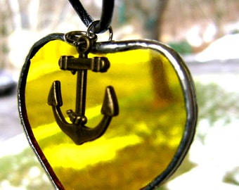 Anchor Nautical Jewelry Valentines Yellow Amber Heart Glass Pendant Necklace Christmas Yule Mothers Day Birthday Bridal