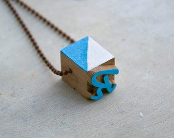 Vintage wooden typographic necklace. Antique copper chain. Letter R white blue wood