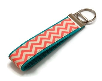 Cute Coral Chevron on Aqua Webbing Key Fob - Custom Fabric Wristlet - Bag Tag