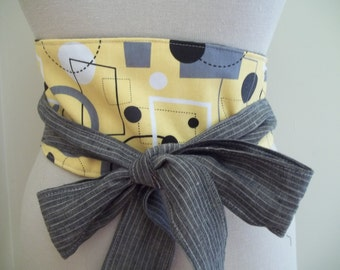 SALE ~ Obi Belt Sash Wrap Belt Black & Yellow Geometric