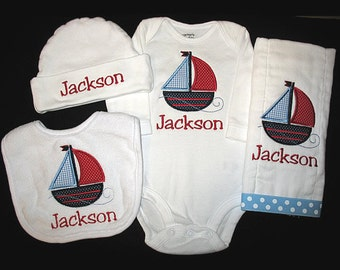 Custom Personalized Applique SAILBOAT and NAME Bodysuit, Bib, Burp Cloth, and Hat Set - Lt Blue, Navy, and Red