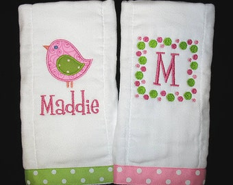 Custom Personalized Applique BIRD and INITIAL FRAME - 2 Burp Cloths Set - Pink, Medium Pink, and Lime Green