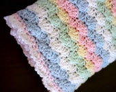 Crochet Baby Afghan Unisex Multicolor Soft Christening Blanket Handmade Pink Blue Yellow Mint Green