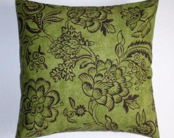 "Throw Pillow Cover, Toss Pillow, Accent Pillow, Decorative Cushion, Pillowcase, Kiwi Green Floral Pillow, Waverly Fabric, 16x16"" Square"