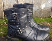 Slouch studded motorcycle ankle boot womens 8.5