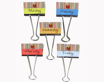 "Teacher Gift Organizer Personalized Binder Clips 2"" wide School Days Monday through Friday"